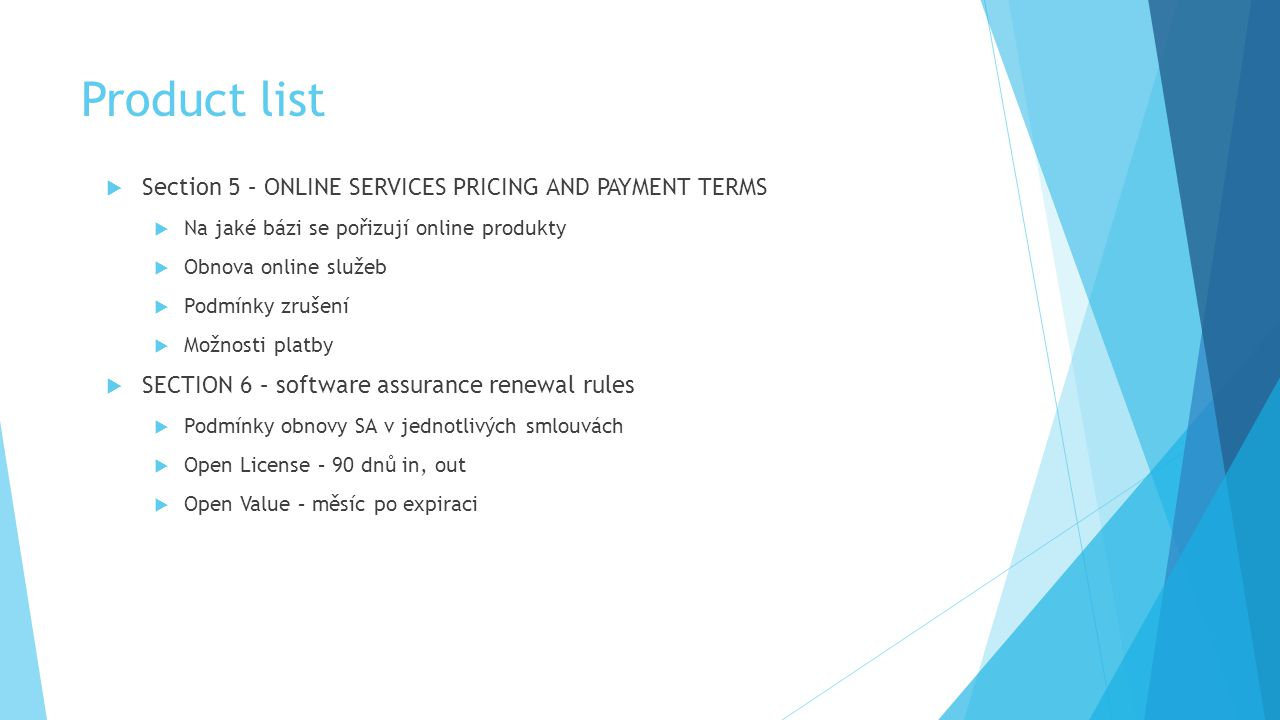 Product list Section 5 – ONLINE SERVICES PRICING AND PAYMENT TERMS