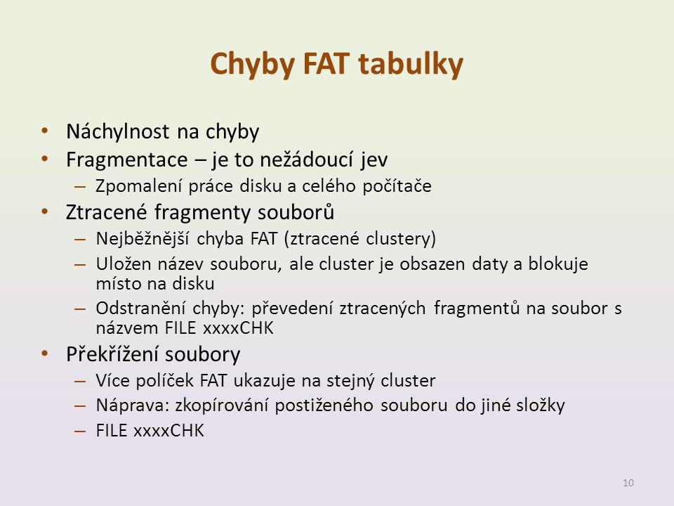 Chyby FAT tabulky Náchylnost na chyby