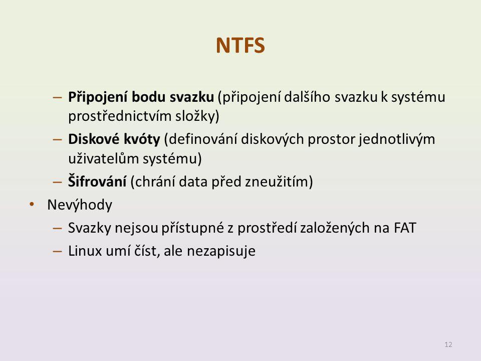 NTFS Připojení bodu svazku (připojení dalšího svazku k systému prostřednictvím složky)
