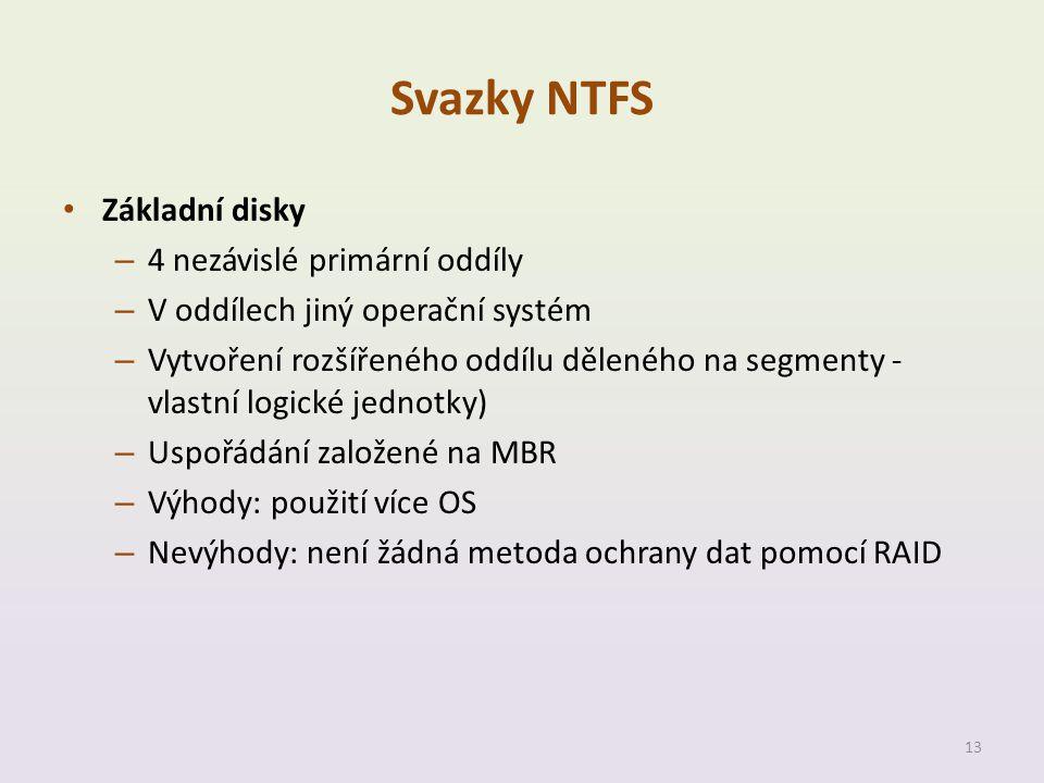 Svazky NTFS Základní disky 4 nezávislé primární oddíly