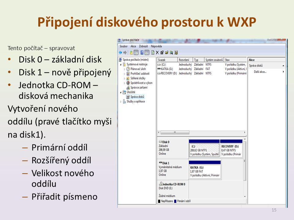 Připojení diskového prostoru k WXP