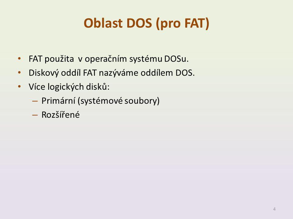 Oblast DOS (pro FAT) FAT použita v operačním systému DOSu.