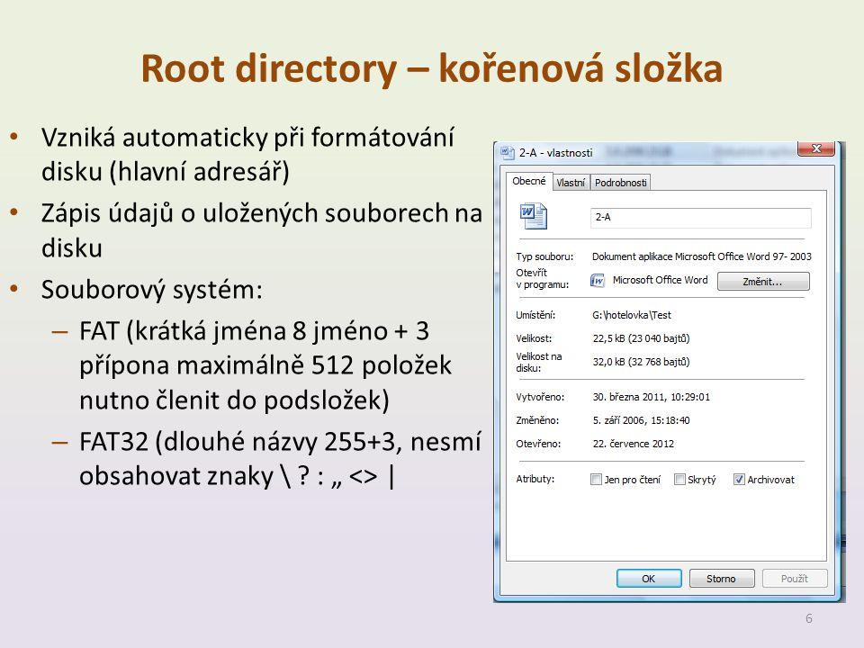 Root directory – kořenová složka