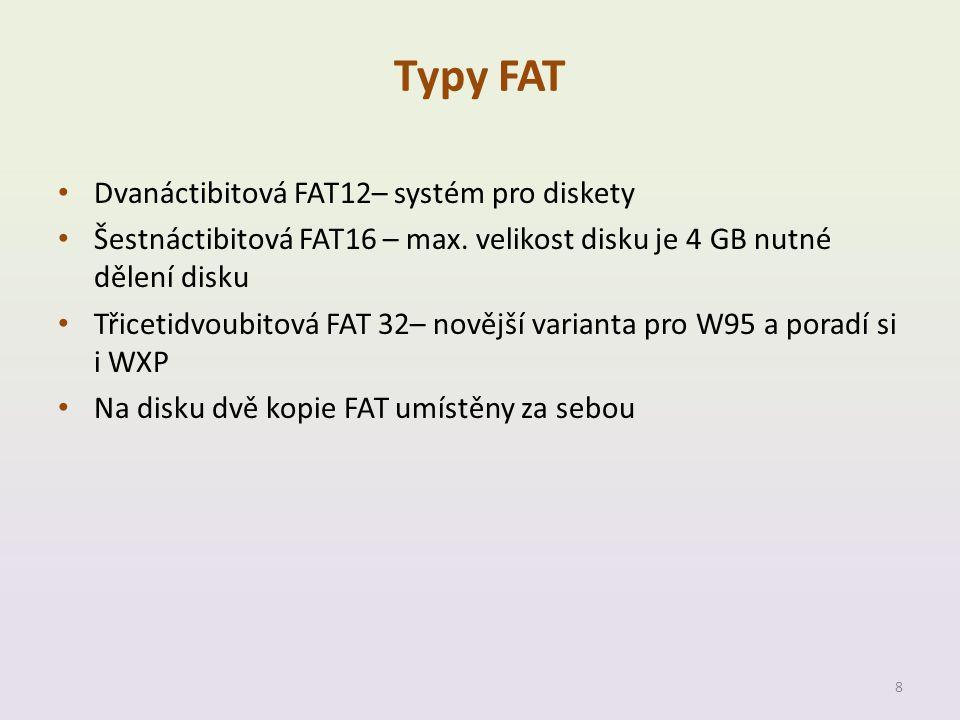 Typy FAT Dvanáctibitová FAT12– systém pro diskety