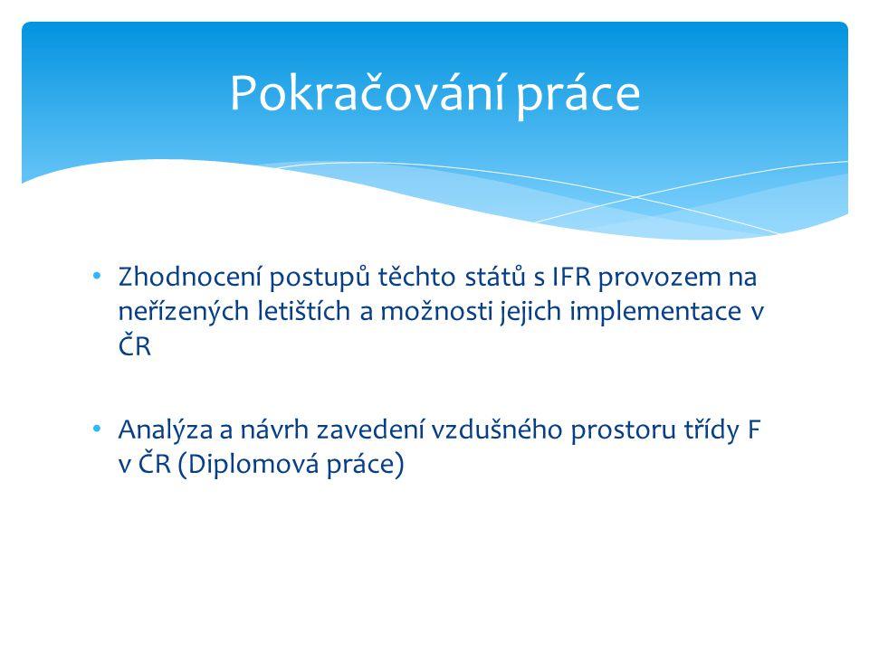 Pokračování práce Zhodnocení postupů těchto států s IFR provozem na neřízených letištích a možnosti jejich implementace v ČR.