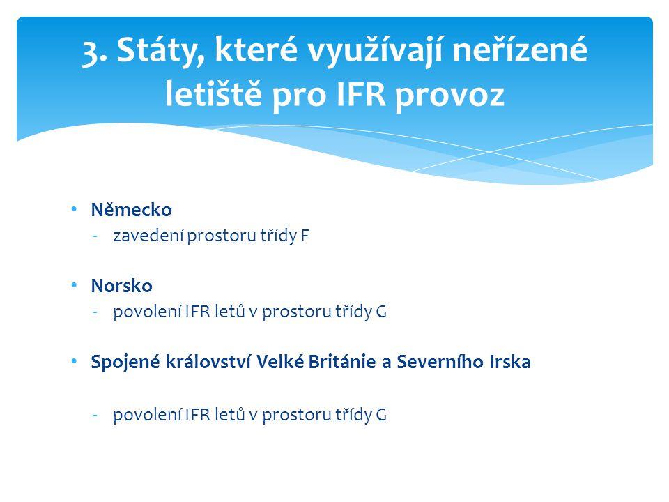 3. Státy, které využívají neřízené letiště pro IFR provoz