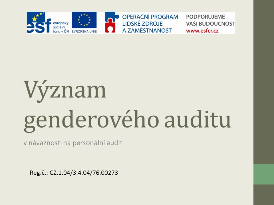 Význam genderového auditu
