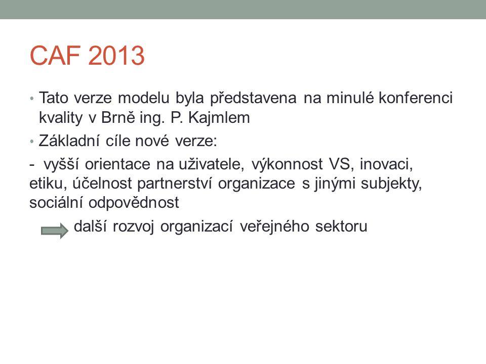 CAF 2013 Tato verze modelu byla představena na minulé konferenci kvality v Brně ing. P. Kajmlem. Základní cíle nové verze: