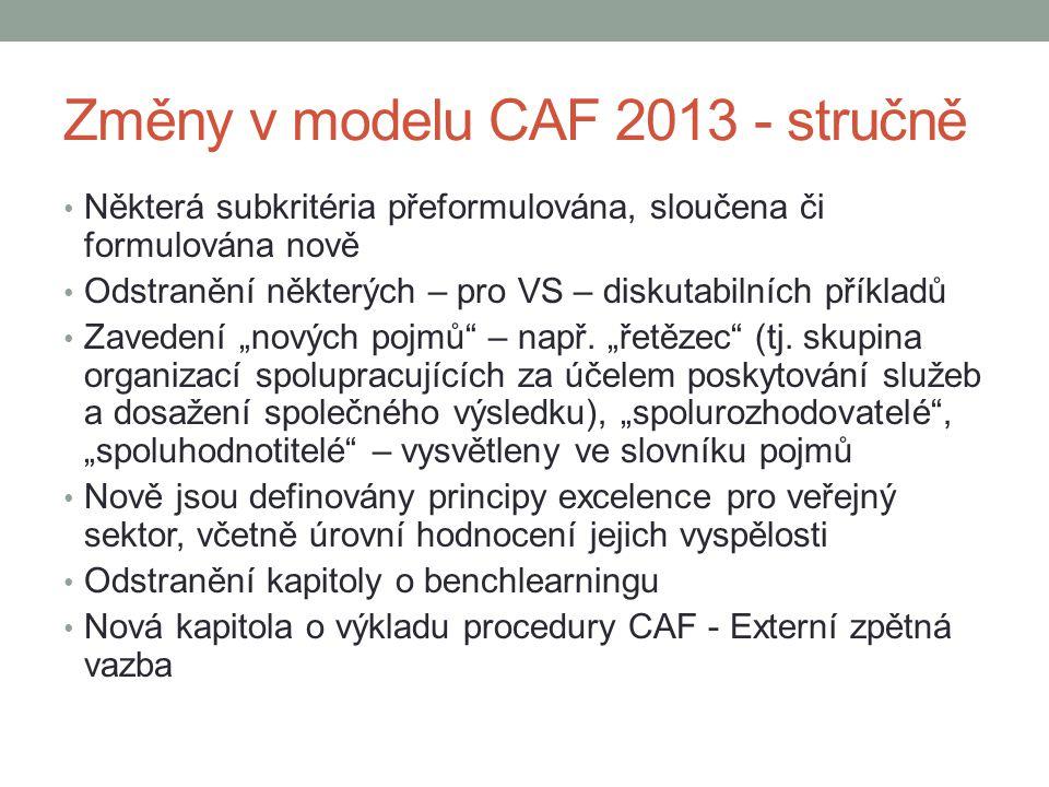 Změny v modelu CAF 2013 - stručně
