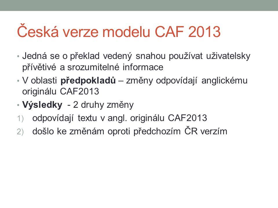 Česká verze modelu CAF 2013 Jedná se o překlad vedený snahou používat uživatelsky přívětivé a srozumitelné informace.