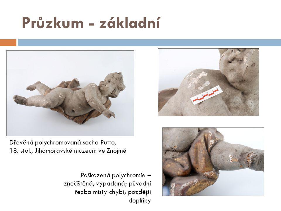 Průzkum - základní Dřevěná polychromovaná socha Putto, 18. stol., Jihomoravské muzeum ve Znojmě.