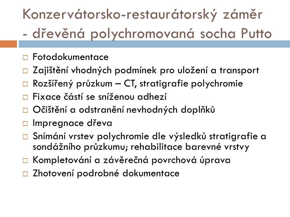 Konzervátorsko-restaurátorský záměr - dřevěná polychromovaná socha Putto