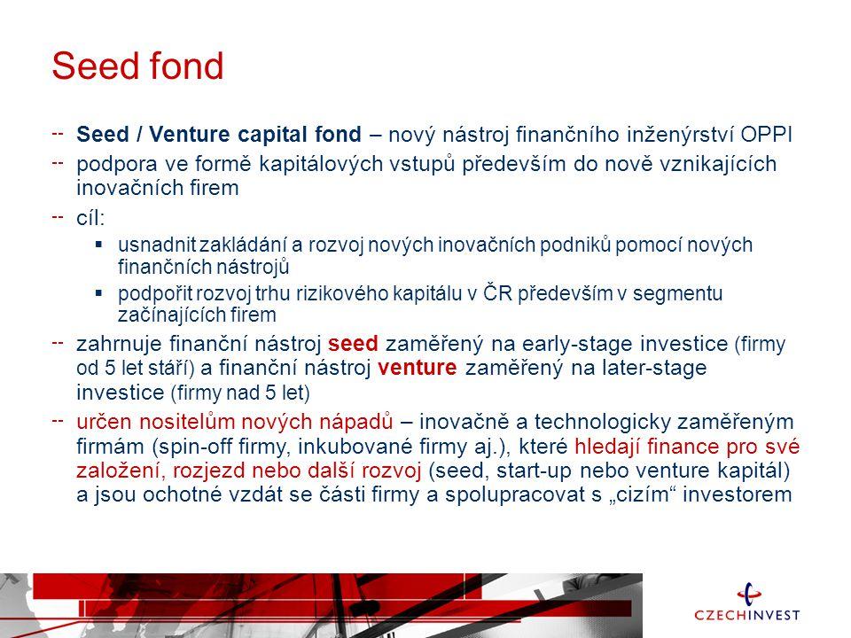 Seed fond Seed / Venture capital fond – nový nástroj finančního inženýrství OPPI.