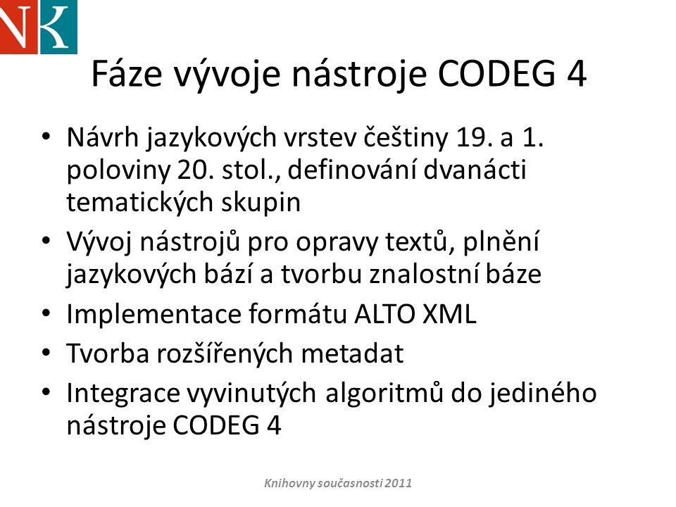 Fáze vývoje nástroje CODEG 4