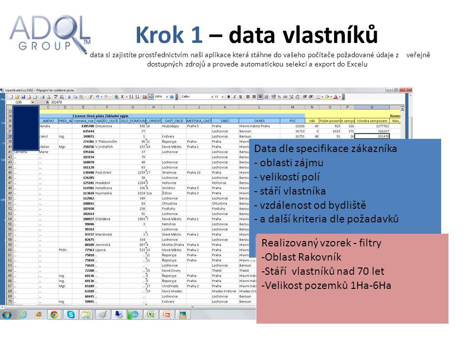 Krok 1 – data vlastníků * data si zajistíte prostřednictvím naši aplikace která stáhne do vašeho počítače požadované údaje z veřejně dostupných zdrojů a provede automatickou selekci a export do Excelu