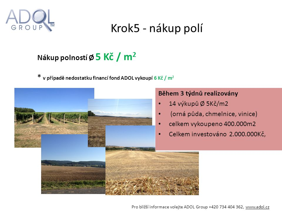 Krok5 - nákup polí Nákup polností Ø 5 Kč / m2