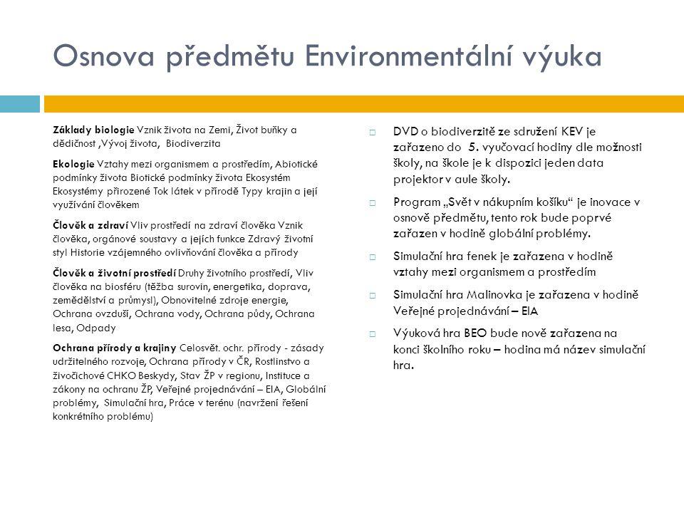 Osnova předmětu Environmentální výuka