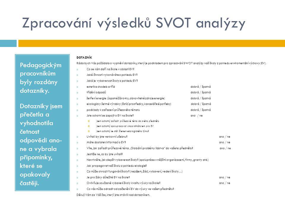Zpracování výsledků SVOT analýzy