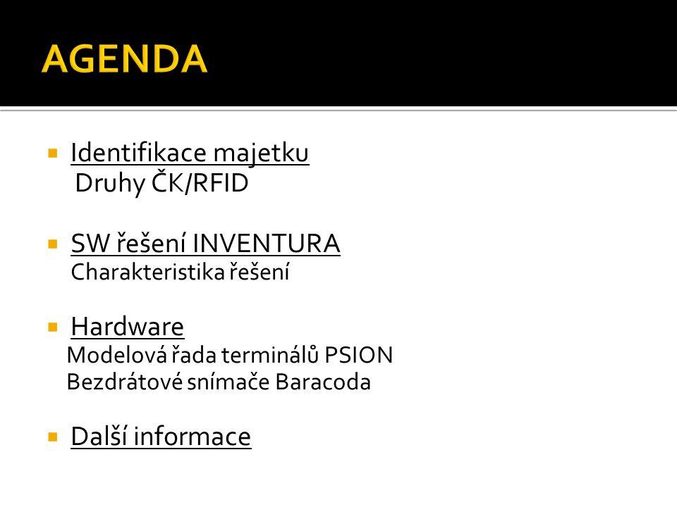 AGENDA Identifikace majetku Druhy ČK/RFID