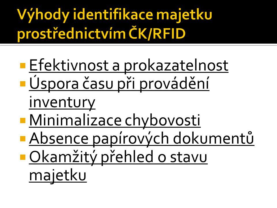 Výhody identifikace majetku prostřednictvím ČK/RFID