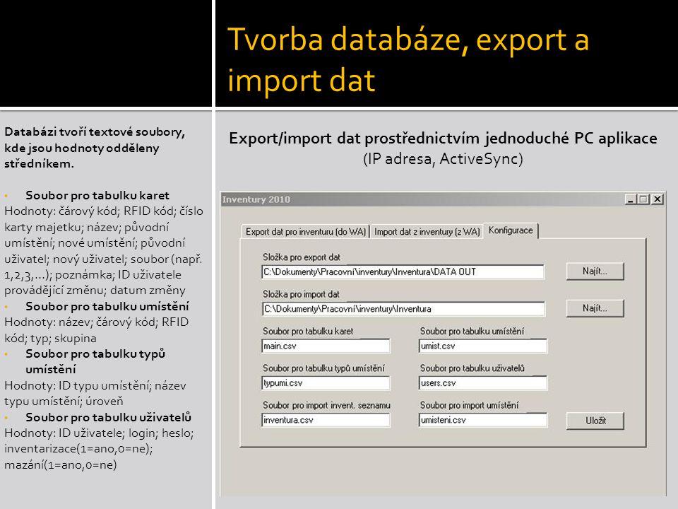 Tvorba databáze, export a import dat
