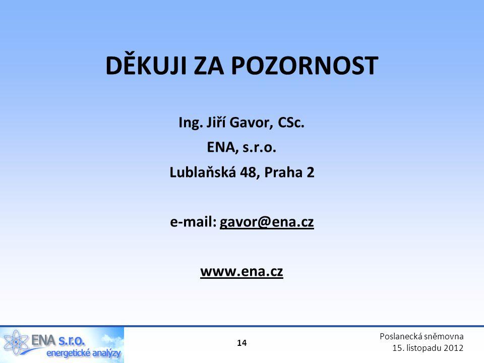 DĚKUJI ZA POZORNOST Ing. Jiří Gavor, CSc. ENA, s.r.o.