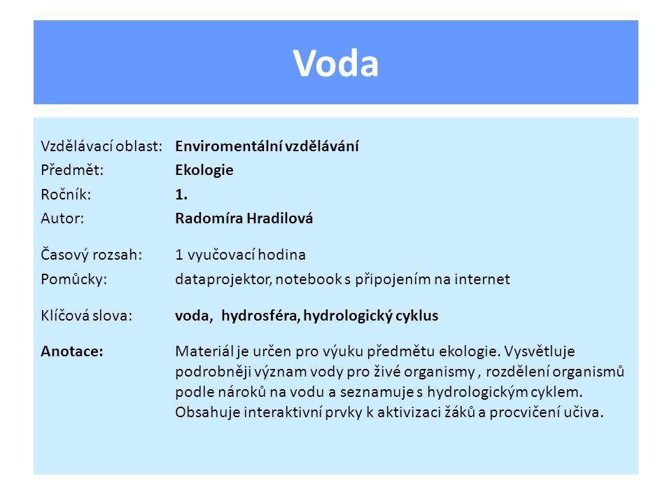 Voda Vzdělávací oblast: Enviromentální vzdělávání Předmět: Ekologie