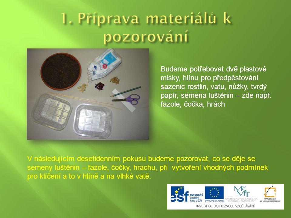 1. Příprava materiálů k pozorování