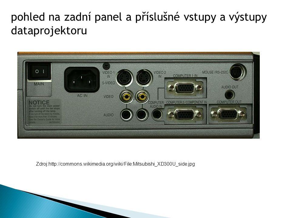 pohled na zadní panel a příslušné vstupy a výstupy dataprojektoru