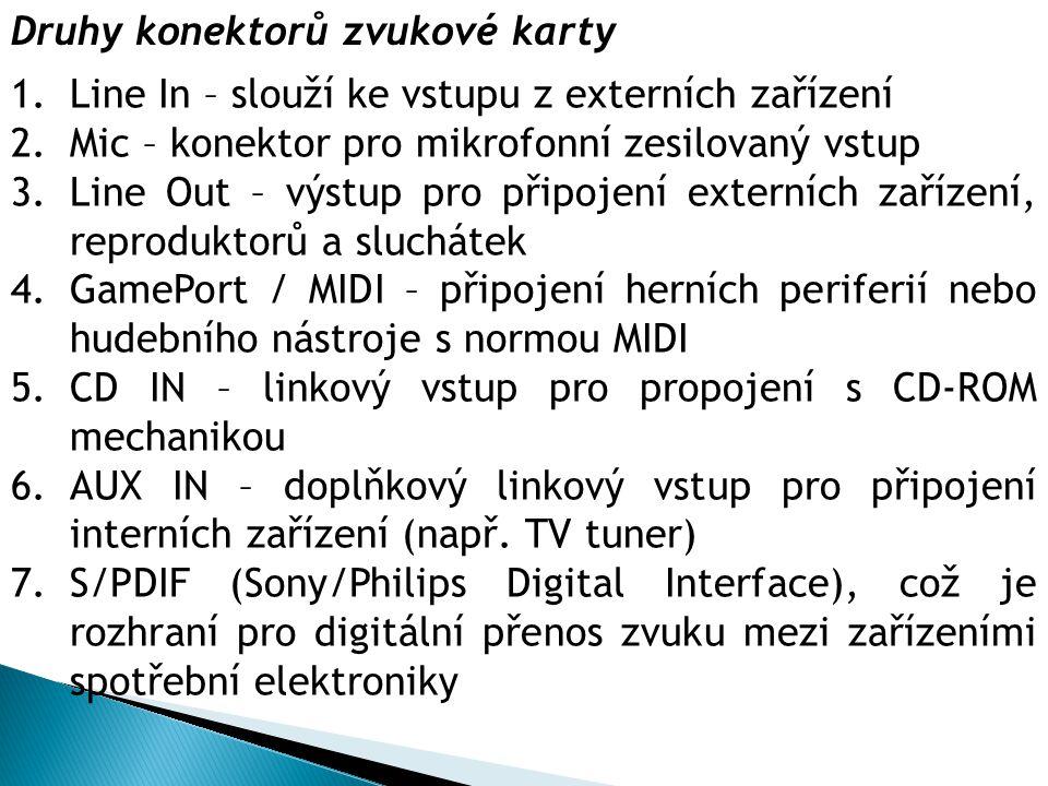 Druhy konektorů zvukové karty