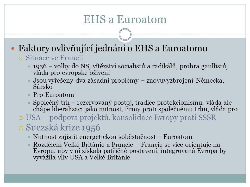 EHS a Euroatom Faktory ovlivňující jednání o EHS a Euroatomu