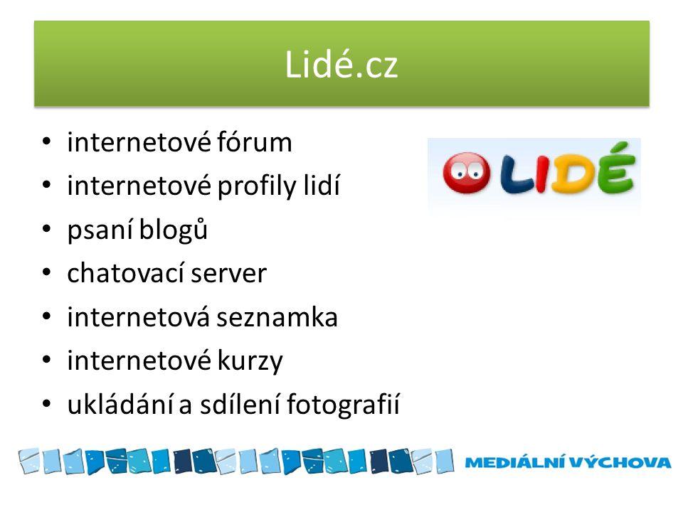 Lidé.cz internetové fórum internetové profily lidí psaní blogů