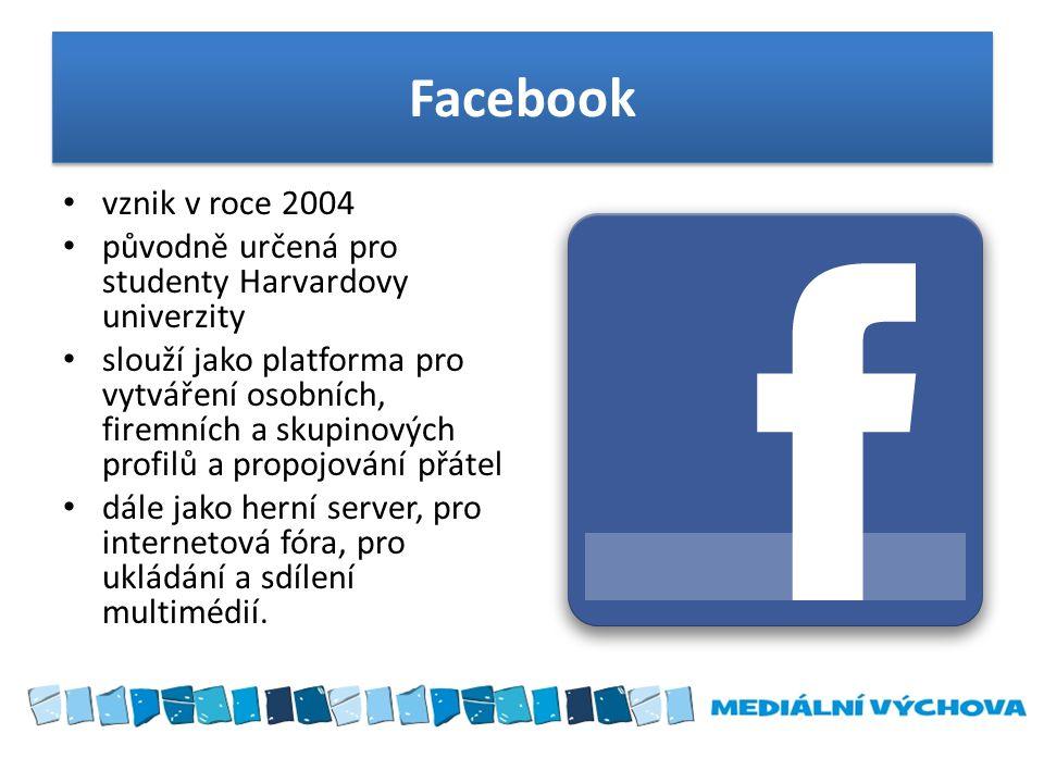 Facebook vznik v roce 2004. původně určená pro studenty Harvardovy univerzity.