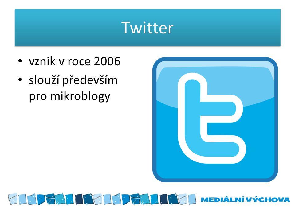 Twitter vznik v roce 2006 slouží především pro mikroblogy