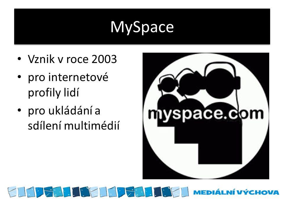 MySpace Vznik v roce 2003 pro internetové profily lidí