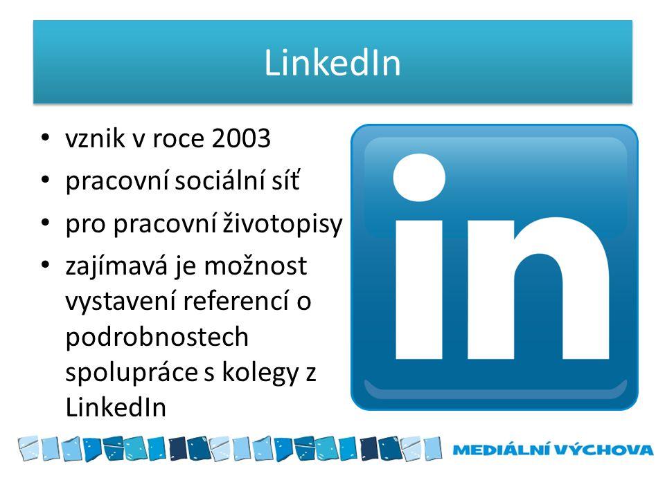 LinkedIn vznik v roce 2003 pracovní sociální síť
