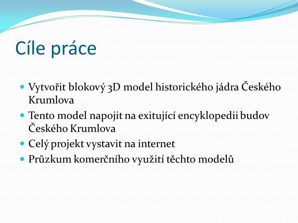 Cíle práce Vytvořit blokový 3D model historického jádra Českého Krumlova. Tento model napojit na exitující encyklopedii budov Českého Krumlova.