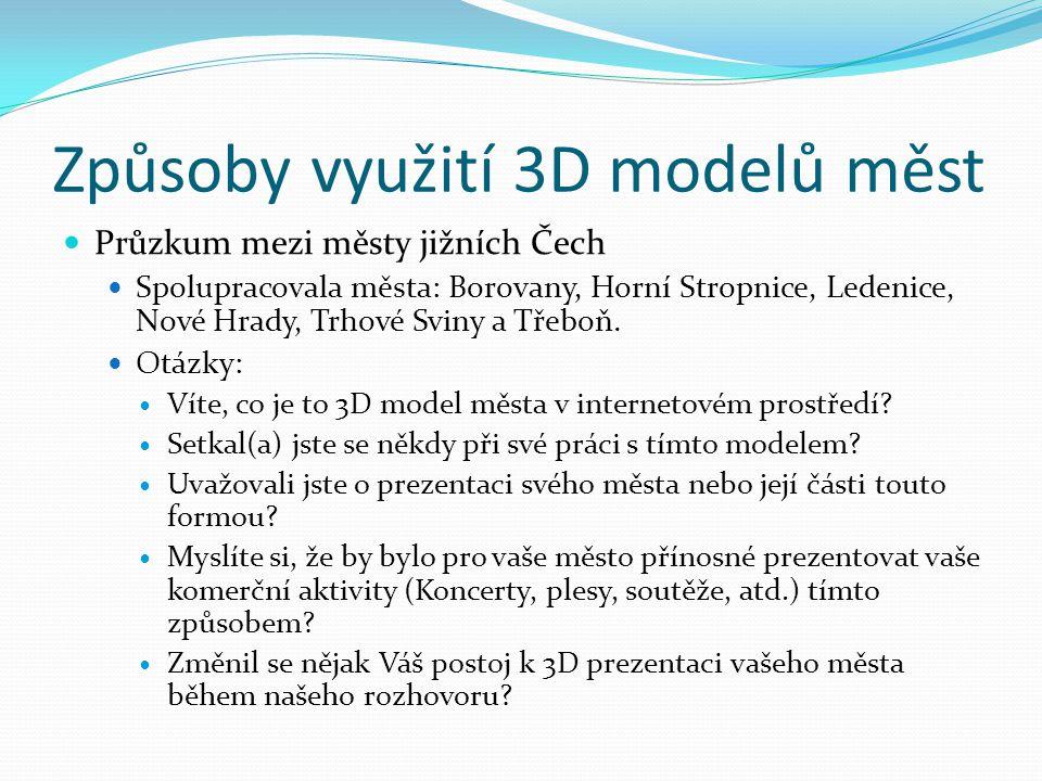 Způsoby využití 3D modelů měst