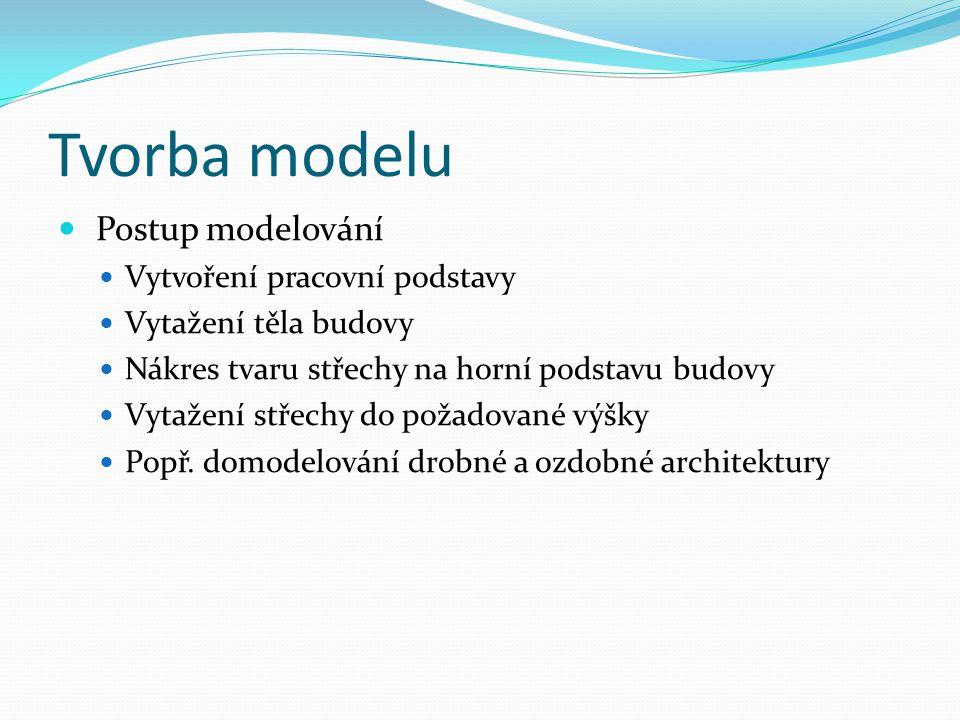 Tvorba modelu Postup modelování Vytvoření pracovní podstavy