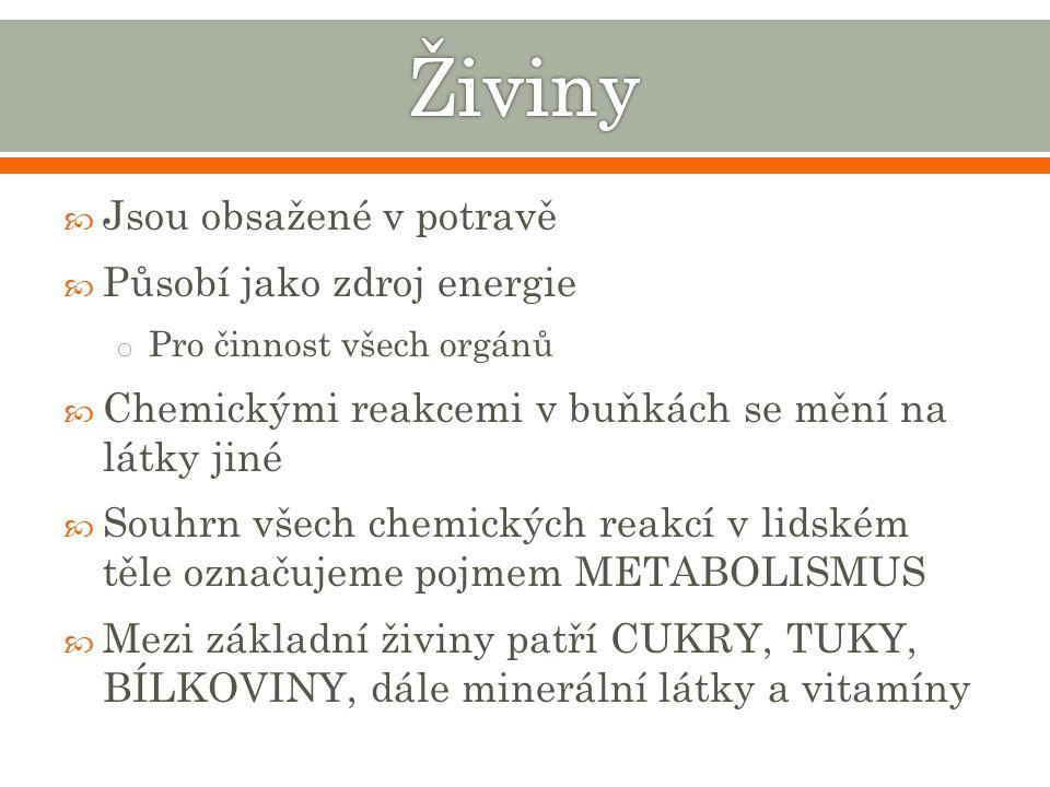 Živiny Jsou obsažené v potravě Působí jako zdroj energie