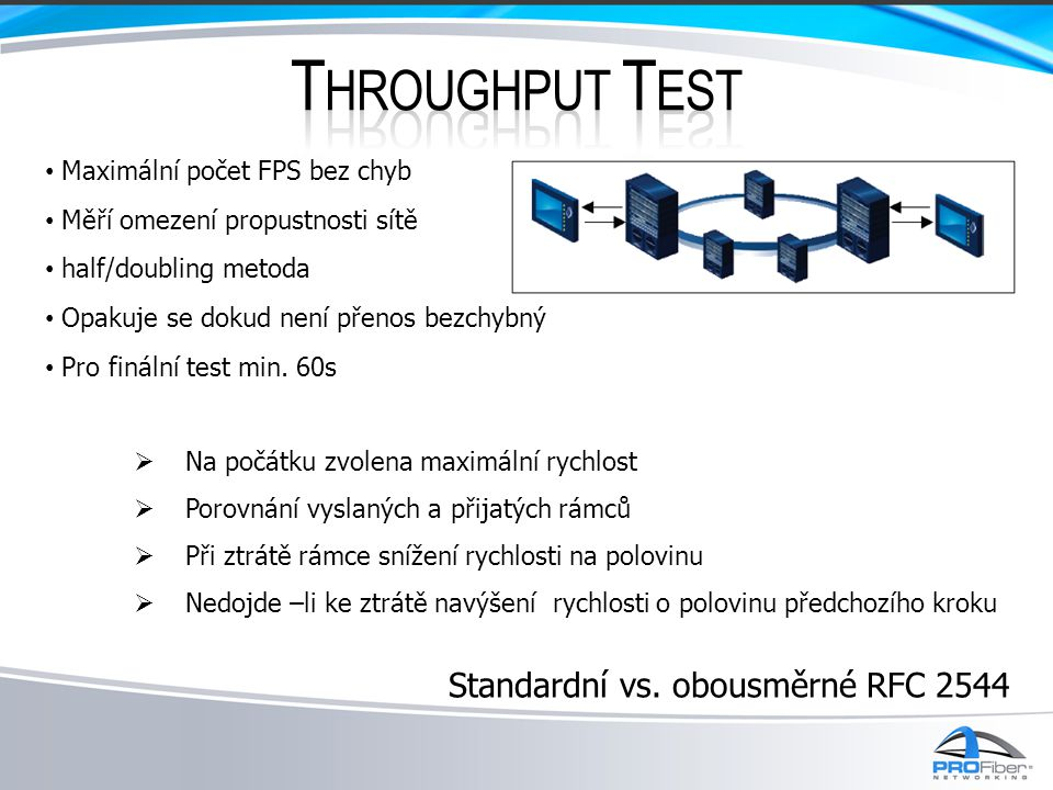 Throughput Test Standardní vs. obousměrné RFC 2544
