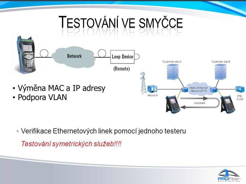 Testování ve smyčce Výměna MAC a IP adresy Podpora VLAN