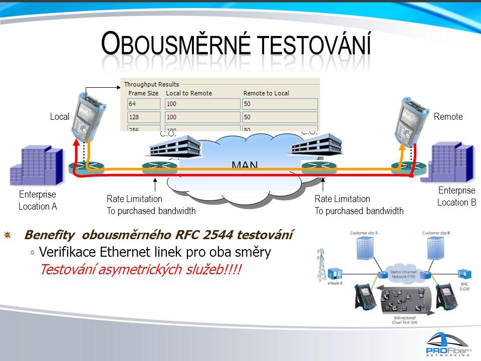 Obousměrné testování ◦ Verifikace Ethernet linek pro oba směry