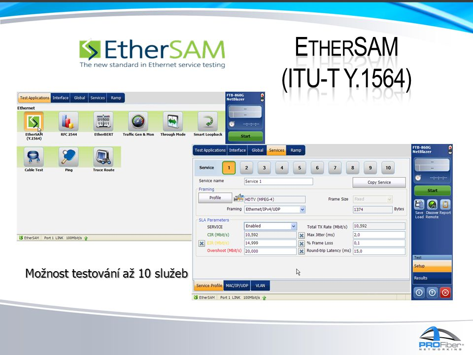 EtherSAM (ITU-T Y.1564) Možnost testování až 10 služeb