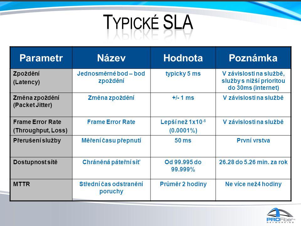 Typické SLA Parametr Název Hodnota Poznámka Zpoždění (Latency)