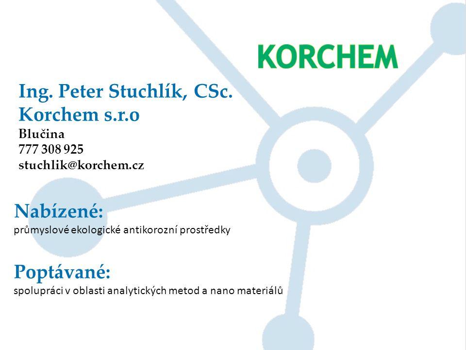 Ing. Peter Stuchlík, CSc. Korchem s.r.o Nabízené: Poptávané: Blučina