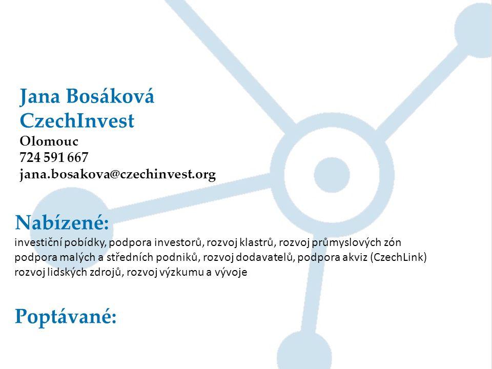 Jana Bosáková CzechInvest Nabízené: Poptávané: Olomouc 724 591 667