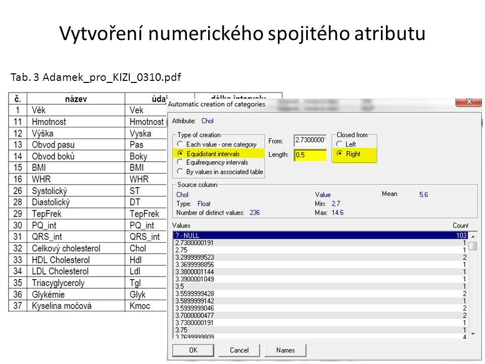 Vytvoření numerického spojitého atributu