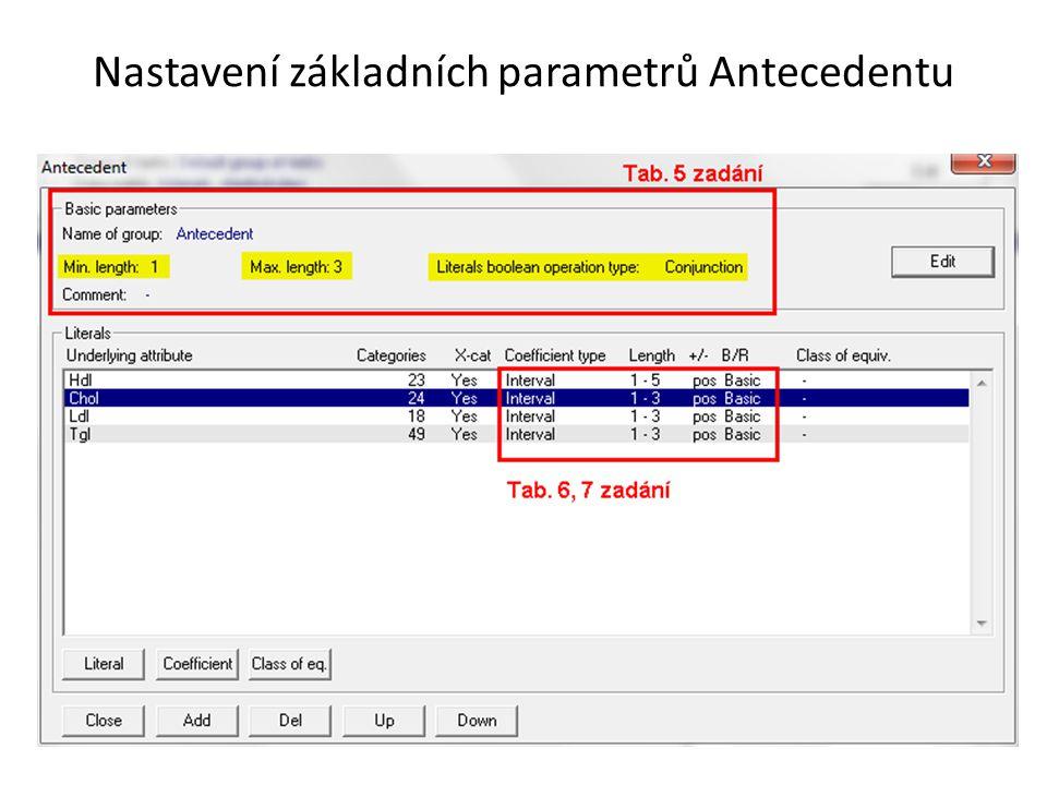 Nastavení základních parametrů Antecedentu