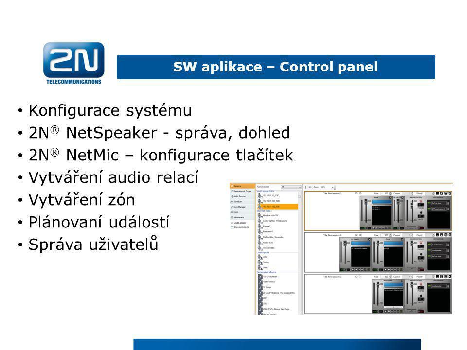 SW aplikace – Control panel